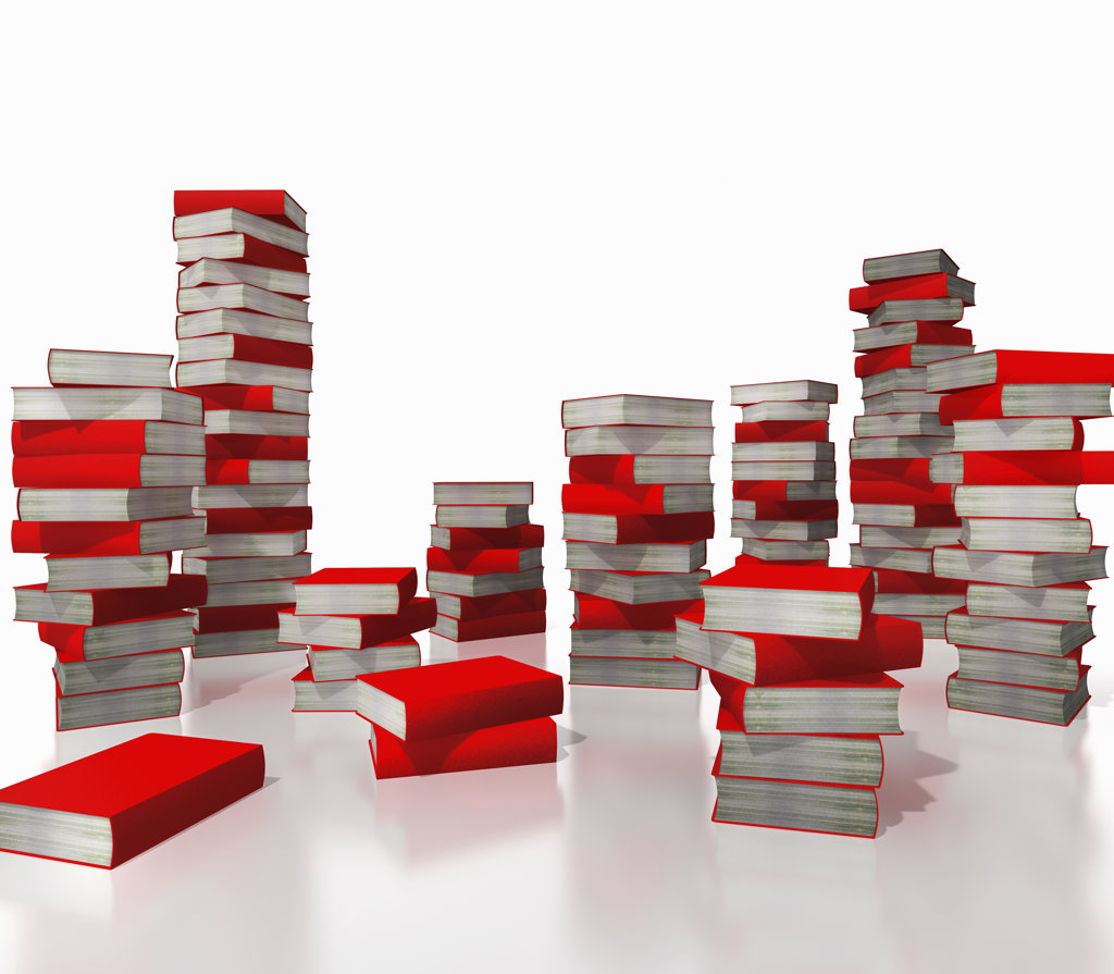 Stock Photo: 160-1895 Stacks of red books, digitally generated image