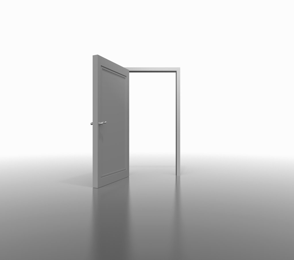 Opened door, digitally generated image : Stock Photo