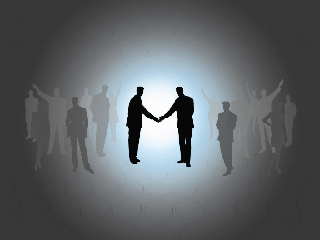 Business people shaking hands, digitally generated image : Stock Photo