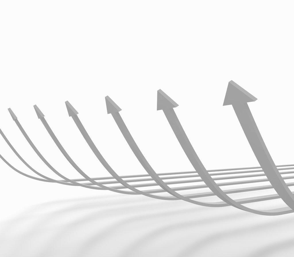 Stock Photo: 160-1917 Row of gray arrows, digitally generated image