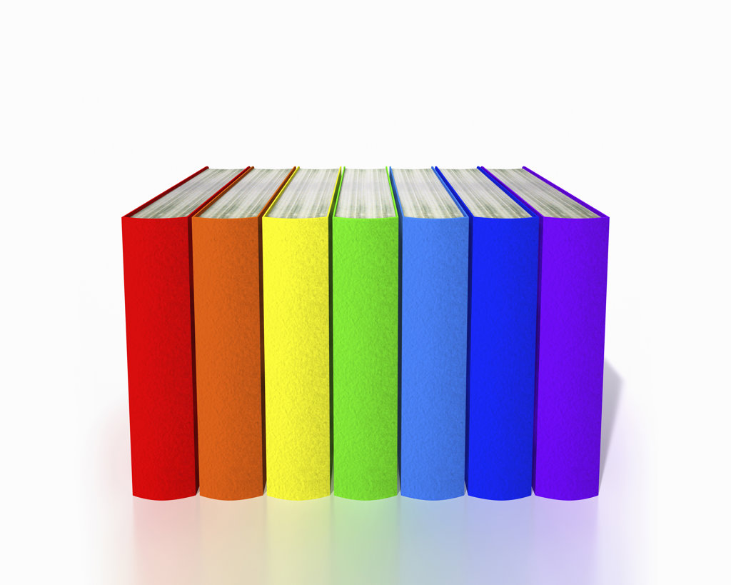 Row of colorful books, digitally generated image : Stock Photo