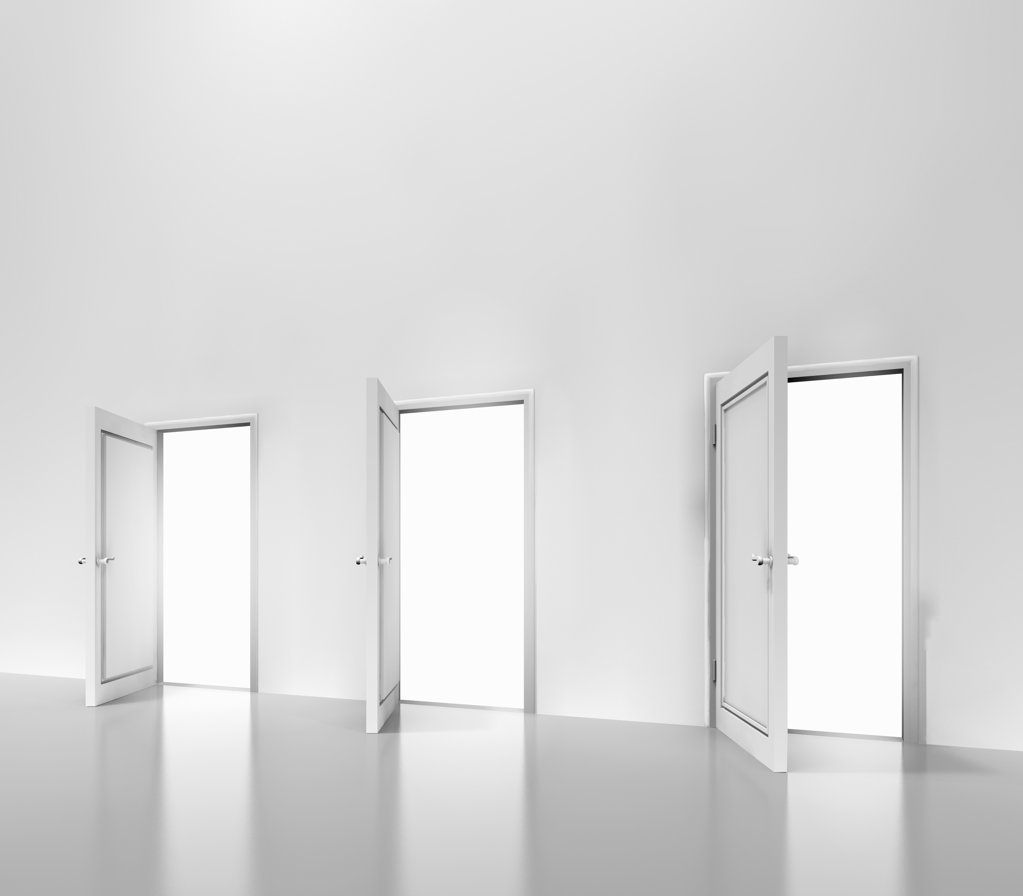 Row of open doors, digitally generated image : Stock Photo