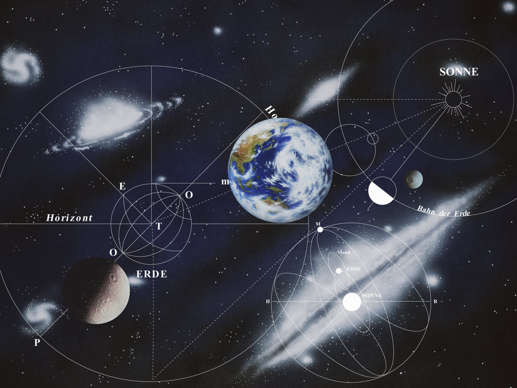 Map of Solar System, digitally generated image : Stock Photo