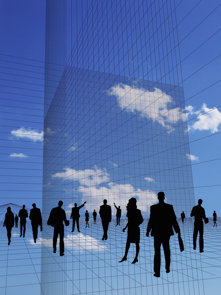 Stock Photo: 160-1956 Silhouette of Office Workers, digital composite