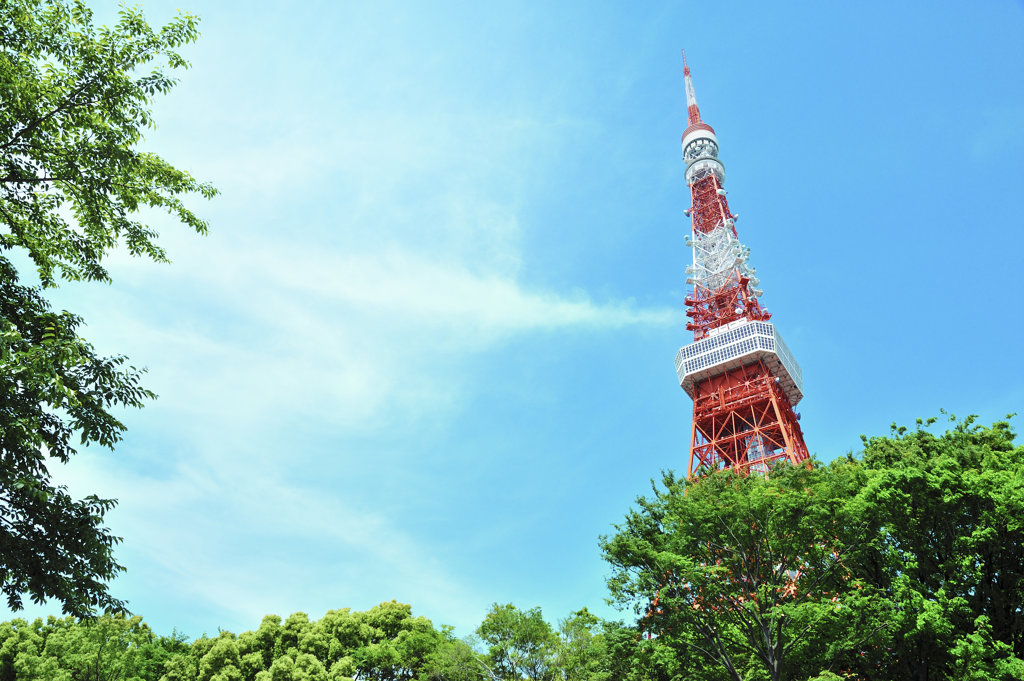Japan, Tokyo, Tokyo tower against sky : Stock Photo