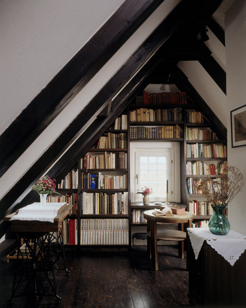 Stock Photo: 160-583 room with bookshelves