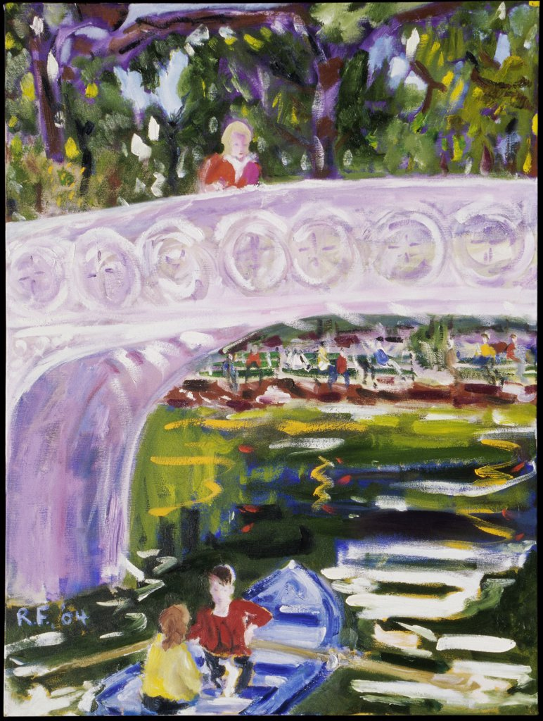 Stock Photo: 1601-103 Woman on Bow Bridge, 2004, Richard H. Fox (b.1960/American), Oil on Canvas
