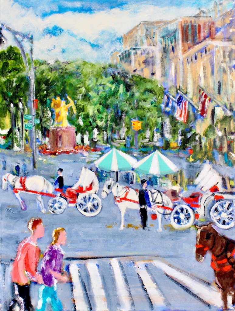 Horses at the Plaza, 2004, Richard H. Fox (b.1960/American), Oil on Canvas : Stock Photo