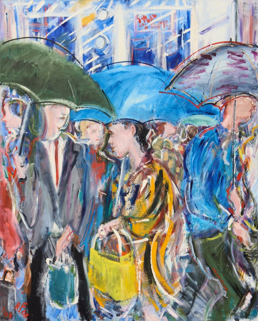 Rain, Herald Square, 2003, Richard H. Fox (b.1960/American), Oil on Canvas : Stock Photo