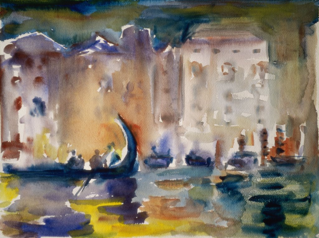 Venice at Night, 2000, Richard H. Fox (b.1960/American), Watercolor on Paper : Stock Photo