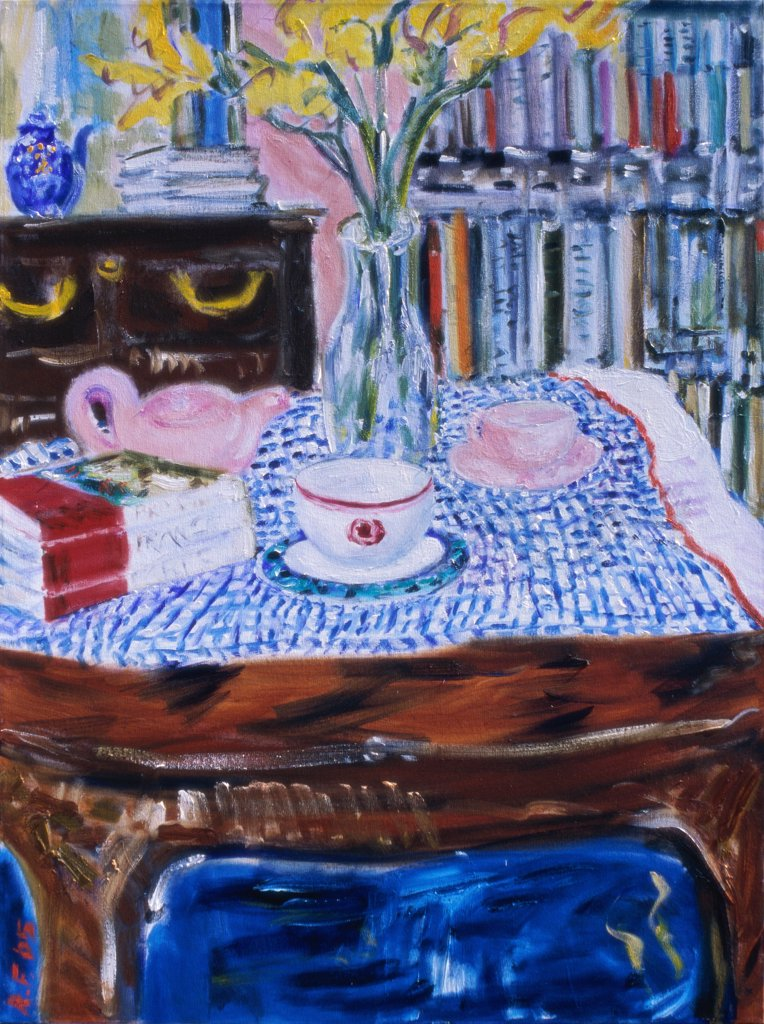 Stock Photo: 1601-143 The Striped Tablecloth, 2005, Richard H. Fox (b.1960/American), Oil on Canvas