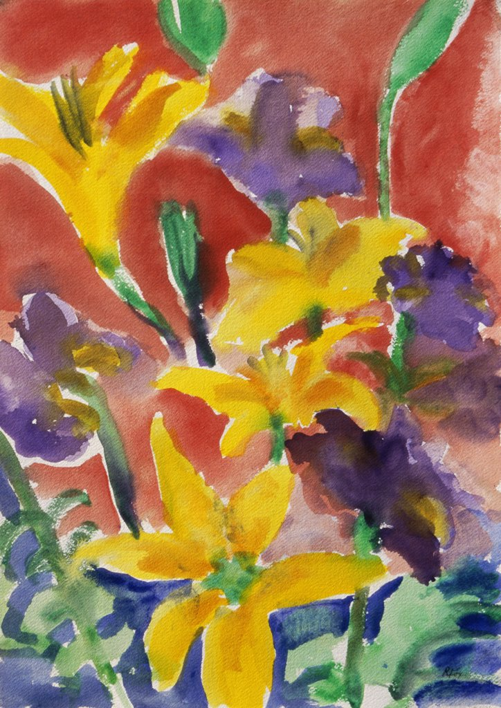 Lilies, 1998, Richard H. Fox (b.1960/American), Watercolor on Paper : Stock Photo