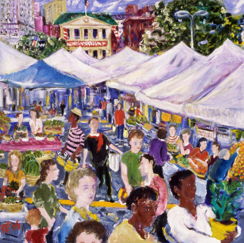 Stock Photo: 1601-182 Market Day, 2005, Richard H. Fox (b.1960/American), Oil on Canvas