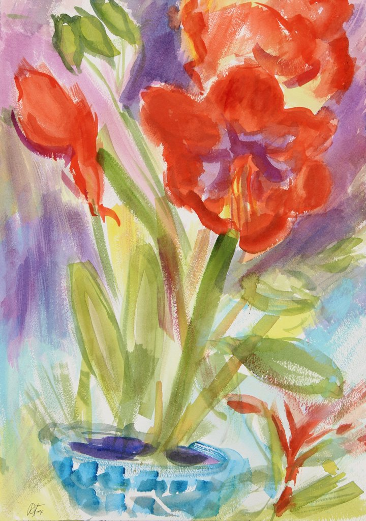 Stock Photo: 1601-185 Amaryllis, 2000, Richard H. Fox (b.1960/American), Watercolor on Paper