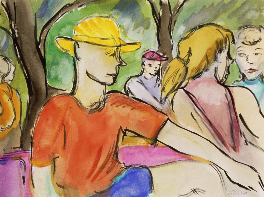 The Yellow Hat, 1999, Richard H. Fox (b.1960/American), Watercolor & Ink on Paper : Stock Photo