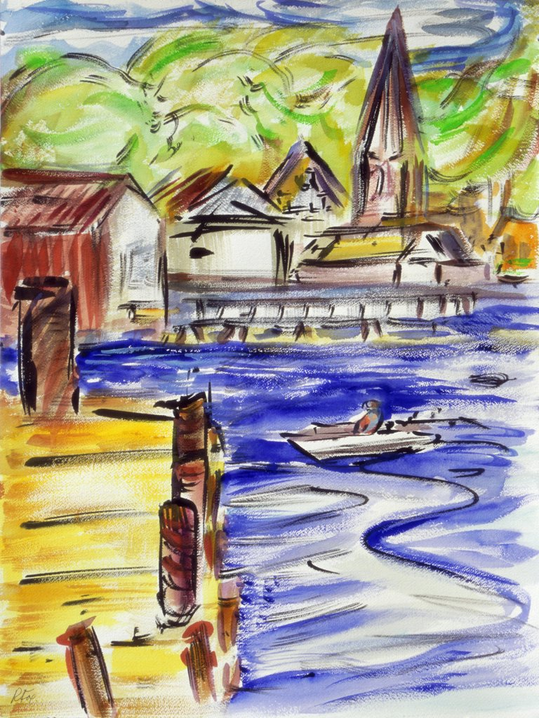 Maine, Booth Bay Harbor, 1997, Richard H. Fox (b.1960/American), Watercolor & Ink on Paper : Stock Photo