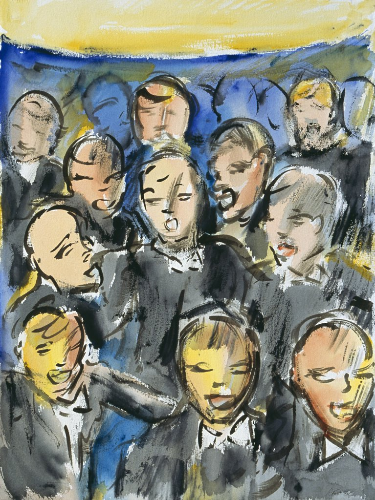 Stock Photo: 1601-253 In Unison 2006 Richard H. Fox (b.1960 American) Watercolor, colored ink on paper