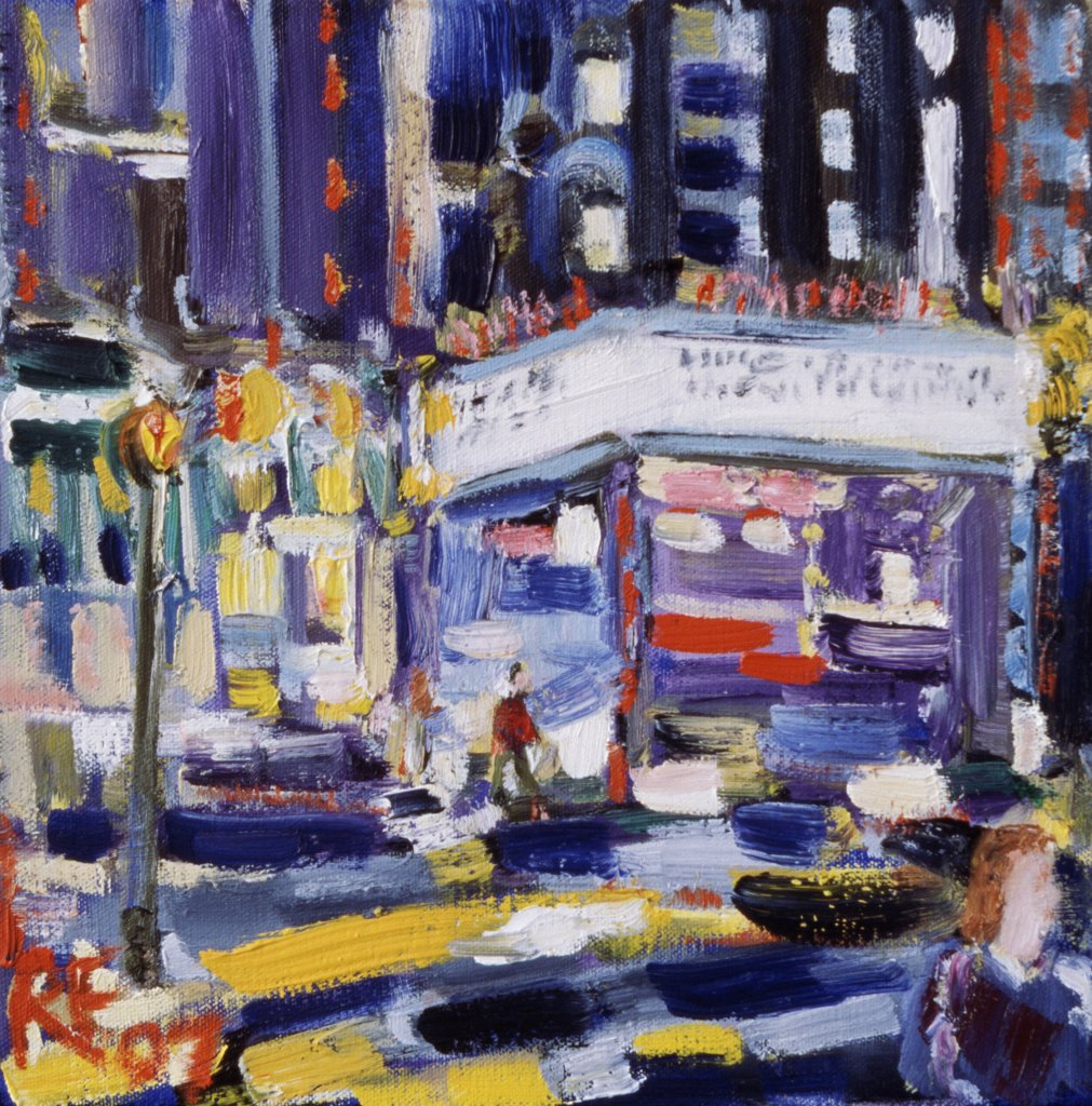 Movie Marquee at Night 2008 Richard H. Fox (b.1960 American) Oil on canvas : Stock Photo