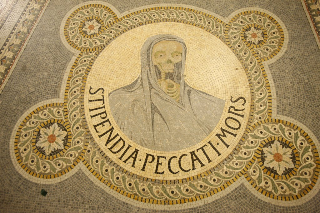 France, Lyon, Stipendium peccati mors : Le salaire du pch est la mort. (The Reward of Sin is Death)  mosaic  in Fourvire basilica : Stock Photo