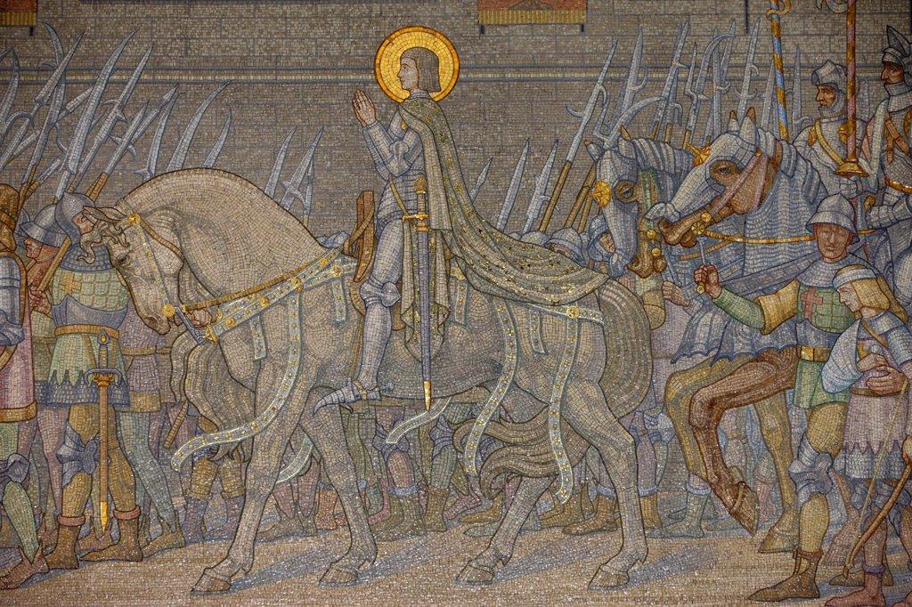Stock Photo: 1606-100769 France, Lyon, Mosaic  in Fourvire basilica : John of Ark  (Dcote 1917).