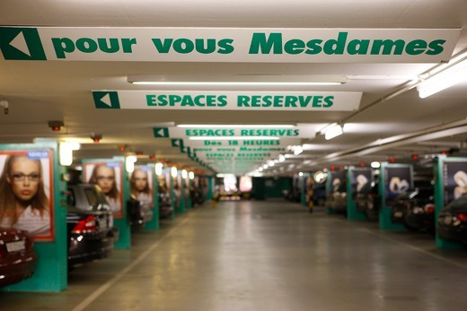 Stock Photo: 1606-101522 Suisse, Genve, Parking lot reserved for women drivers
