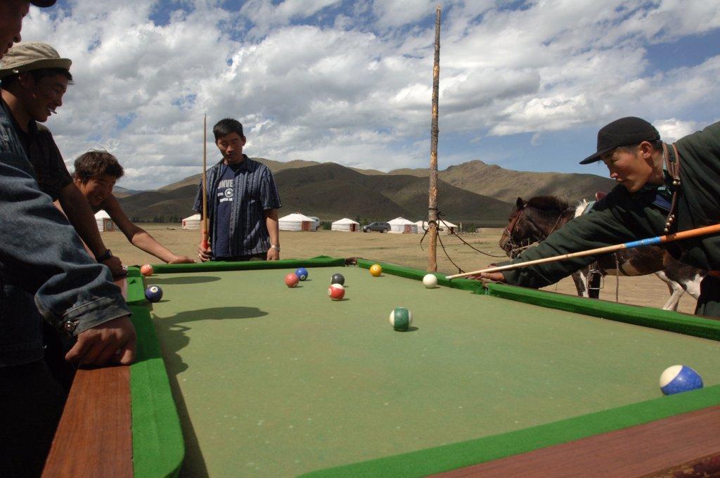 Mongolia, billiard players : Stock Photo