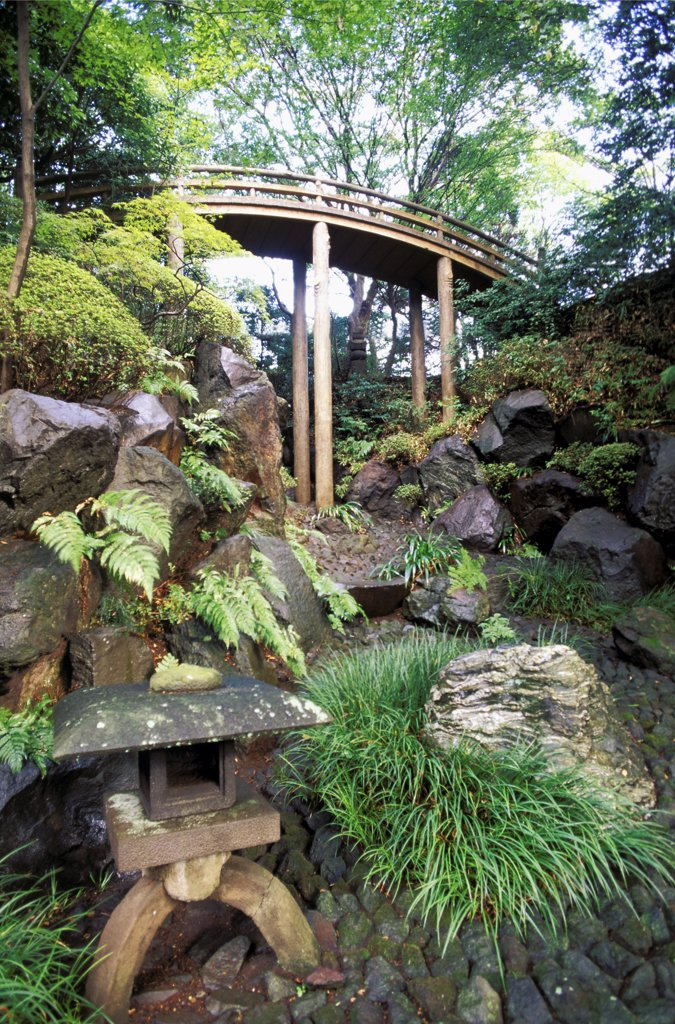 Japan, Yokohama, temple Kenko-Ji, zen garden, dawdles and bridge in greenery : Stock Photo
