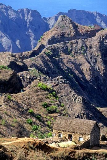 Africa, West Africa, Cape Verde (Cabo Verde), Santo Antao island, Ribeira Grande mountain : Stock Photo
