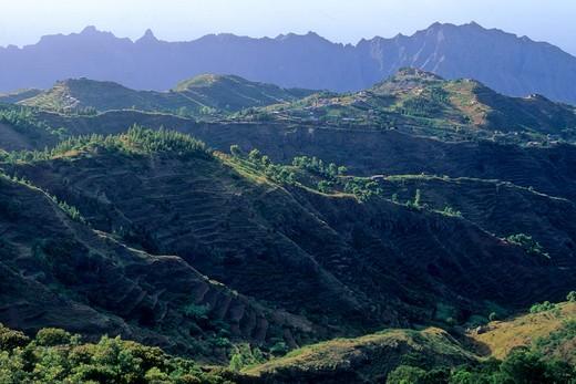 Africa, West Africa, Cape Verde (Cabo Verde), Santo Antao island, Ribeira Grande mountain : Stock Photo
