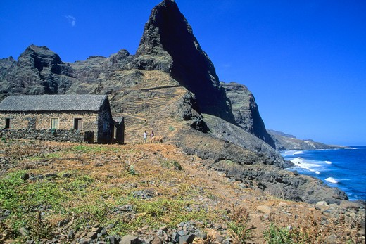 Stock Photo: 1606-102938 Africa, West Africa, Cape Verde (Cabo Verde), Santo Antao island, seafront path near Ponta do Sol