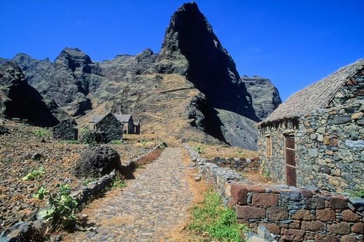 Africa, West Africa, Cape Verde (Cabo Verde), Santo Antao island, seafront path near Ponta do Sol : Stock Photo