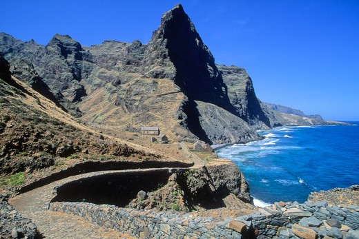 Stock Photo: 1606-102942 Africa, West Africa, Cape Verde (Cabo Verde), Santo Antao island, seafront path near Ponta do Sol