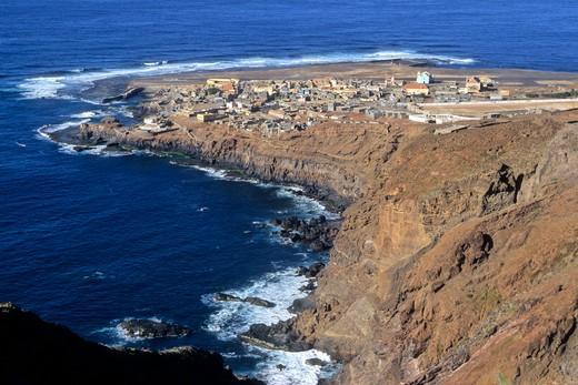 Africa, West Africa, Cape Verde (Cabo Verde), Santo Antao island, Ponta do Sol, overview : Stock Photo