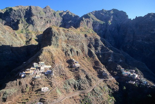Africa, West Africa, Cape Verde (Cabo Verde), Santo Antao island, Fontainhas village (west of Ponta do Sol) : Stock Photo