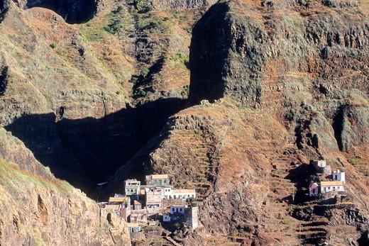 Africa, West Africa, Cape Verde (Cabo Verde), Santo Antao island, Fontainhas (west of Ponta do Sol) : Stock Photo