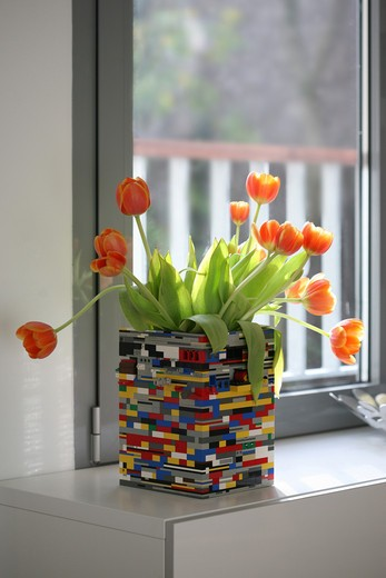 Stock Photo: 1606-103859 Tulips in vase made of legos