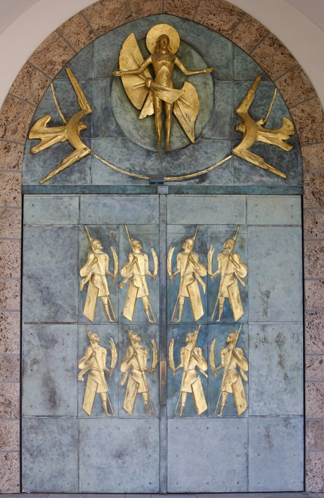 Suisse, Valais, Saint-Maurice, Saint-Maurice abbey basilica door . Ascension Christ and the Thebetan soldiers by  Philippe Kaeppelin. : Stock Photo