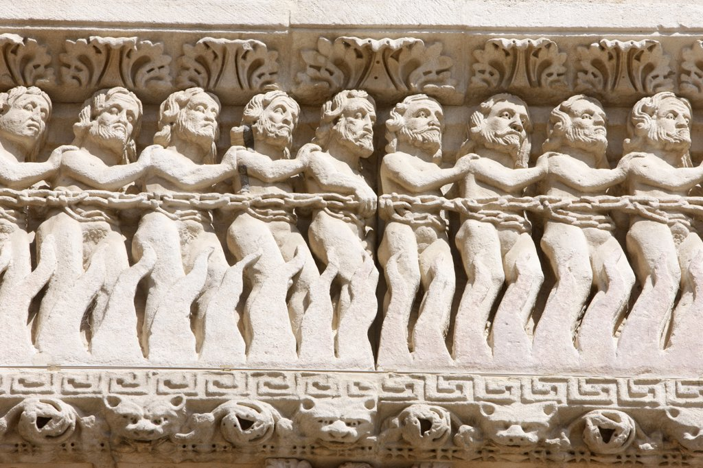 France, Bouches du Rhne, Arles, Saint-Trophime church tympanum The damned : Stock Photo