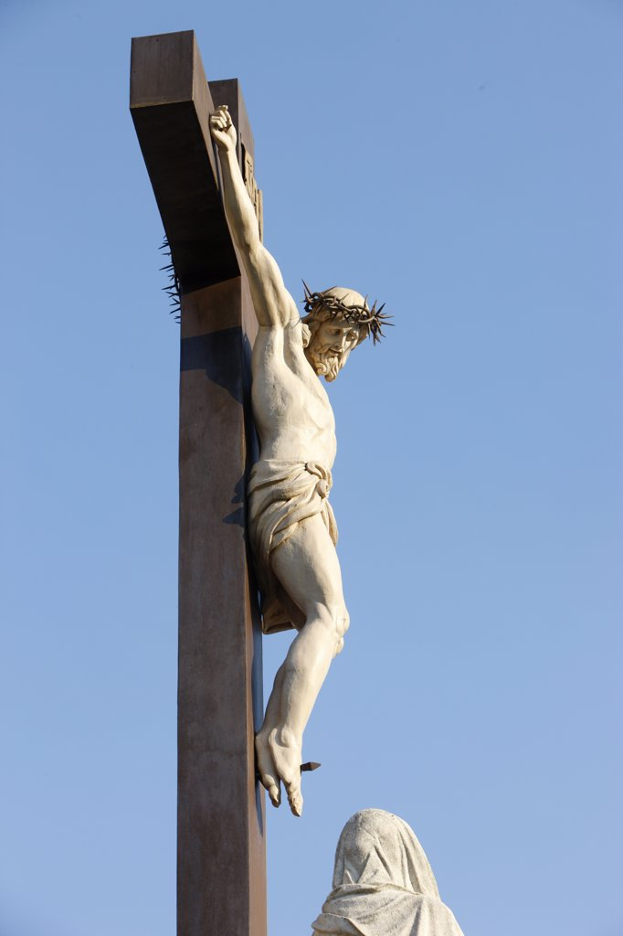 France, Vaucluse, Avignon, 19th century calvary outside Notre-Dame des Doms cathedral : Stock Photo