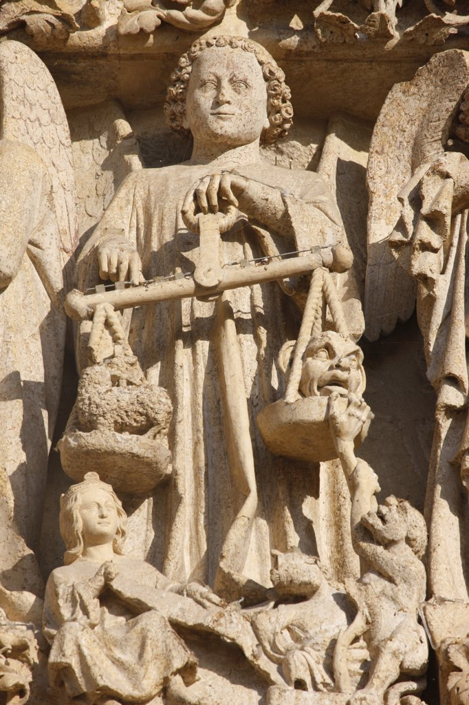 Stock Photo: 1606-105951 France, Somme, Amiens, Amiens cathedral. Central gate Last judgment tympanum   Saint Michael and the weighing of souls