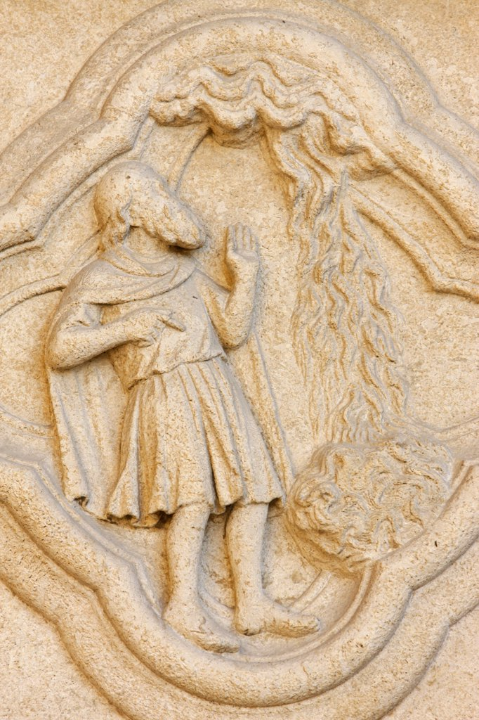 Stock Photo: 1606-105957 France, Somme, Amiens, Amiens cathedral.  Moses and the burning bush