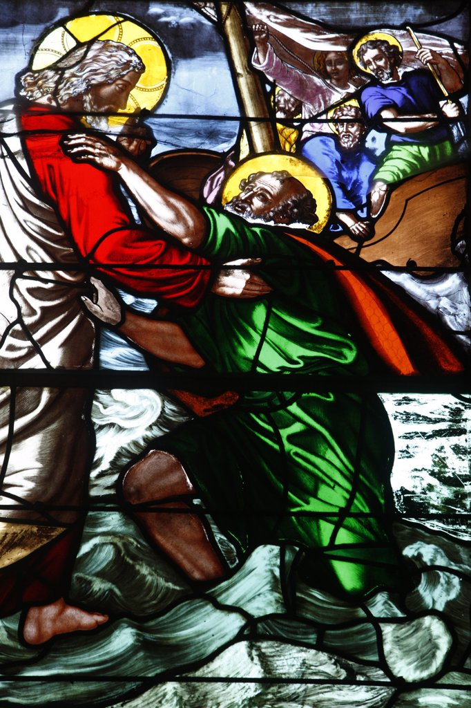 France, Somme, Le Crotoy, Stained glass : Jesus and Saint Peter on the sea of Galilee : Stock Photo