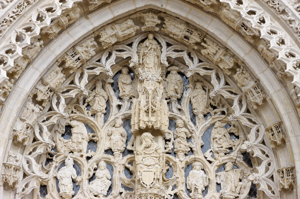 France, Somme, Saint-Riquier, Saint-Riquier abbey church Tympanum showing Jesse's tree : Stock Photo