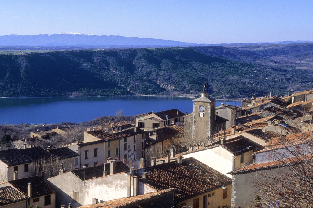 France, Provence Alpes Cote D'Azur, Var (83), Aiguines, village and Sainte Croix lake : Stock Photo