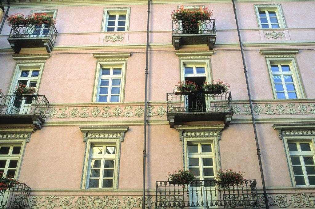 Italy, Aosta valley, Aosta, old house,  De Tillier steet : Stock Photo