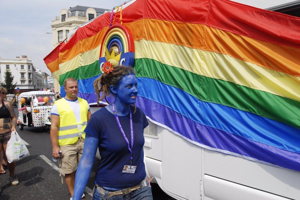 England, Sussex, Brighton, Gay Pride parade : Stock Photo