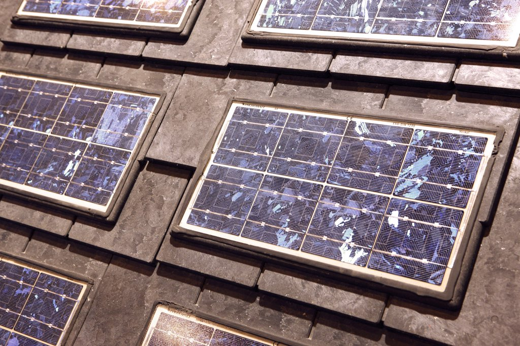 Stock Photo: 1606-106724 Photovoltaic roof tiles