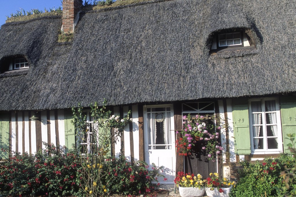 Stock Photo: 1606-106800 France, Haute Normandie, Eure (27),  Marais Vernier (Quillebeuf sur Seine area) thatched cottage