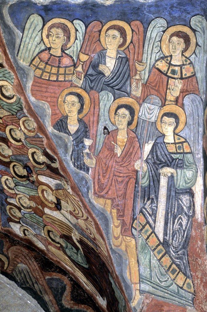 France, Auvergne, Haute-Loire (43), Allier valley, Brioude, Saint Julien basilica (11th to 14th centuries), Saint Michel chapel paint : Stock Photo