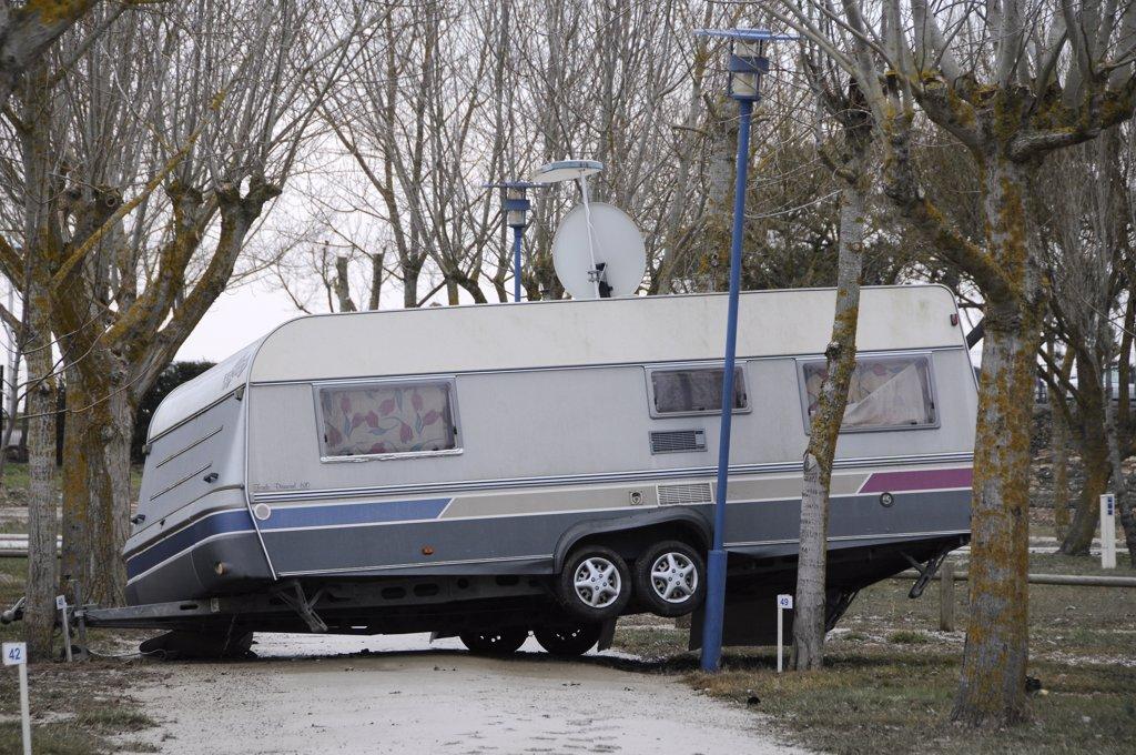 France, Vende, La Faute sur Mer, Xynthia storm damages, municipal campground : Stock Photo